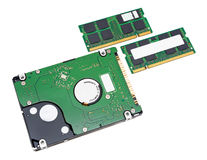 Hard disk drive and memory of notebook Stock Images