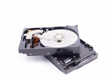 Hard disk drive with metal cover removed Stock Photo