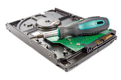 Hard disk drive with screwdriver on a white background Royalty Free Stock Photos