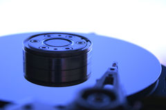 Hard Disk Drive V. Close-up of the opened Hard Disk Drive. Extreme blue on the white Royalty Free Stock Photo