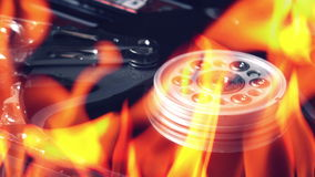 Hard disk failure, computer hdd on fire, burning in flames stock video footage