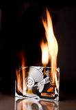 Hard disk on fire Stock Photography
