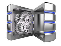 Hard disk with gears inside. Open database concept. Hard disk with gears inside isolated on white background stock illustration