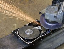 Hard disk grinding Stock Image