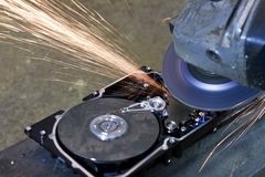 Hard disk grinding Royalty Free Stock Images