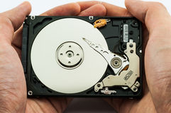 Hard disk in hands. Hard disk recovery concept on white background Royalty Free Stock Photos