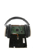 Hard Disk with Headphone Stock Photo