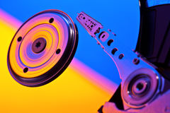 Hard disk inside. With color backlight Stock Photo