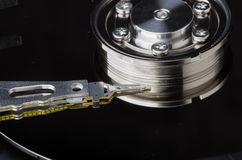Hard disk internals with platter and head Stock Images