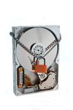 Hard disk with lock. On white background stock images