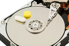 Hard disk with medicine Stock Photography