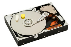 Hard disk with medicine Stock Image