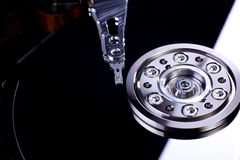Hard disk with mirror close up Royalty Free Stock Image