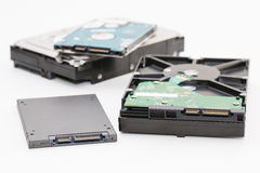 Hard disk next to ssd disk solid state drive Royalty Free Stock Images