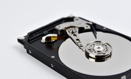 Hard disk open on white background Royalty Free Stock Photography