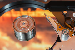 Hard disk operating Royalty Free Stock Images