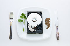 Hard disk on a plate Stock Photography