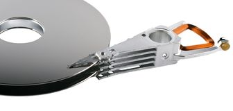 Hard disk platter and actuator arm Royalty Free Stock Images