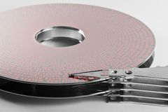 Hard disk platter and actuator arm Royalty Free Stock Image
