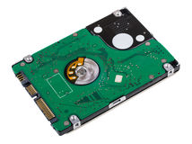 Hard disk from printed circuit board isolated on white Stock Photos
