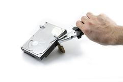Hard disk protected under attack with pliers Stock Photo
