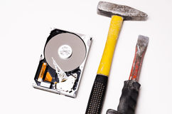 Hard disk and repair tools Royalty Free Stock Photos