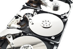 Hard disk in a row Royalty Free Stock Image