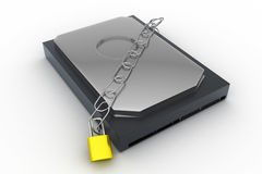 Hard disk secured with a strong iron chain and padlock Stock Photos