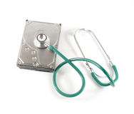 Hard disk with a sthetoscope Stock Image