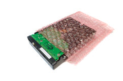 Hard disk storage with air bubble roll Stock Image