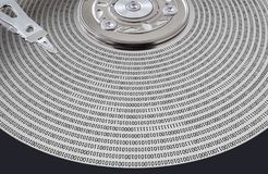 Hard disk surface and magnetic head Royalty Free Stock Photography