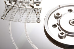 Hard Disk Technology III. A close up picture of a damaged hard disk Royalty Free Stock Image