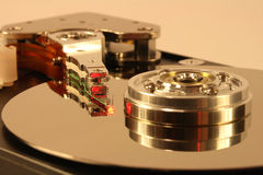 Hard Disk under red laser light Stock Image
