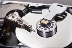 Hard disk and USB stick Stock Photos