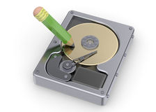Hard Disk and Writing Concept Royalty Free Stock Photo