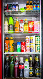 Hard drink and soft drink in refrigerator Stock Image