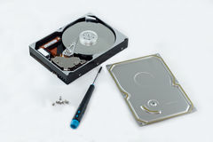 Hard Drive. This is how a hard drive looks like on the inside Stock Photo