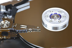 Hard drive. Macro image of internal parts of the hard drive royalty free stock photo