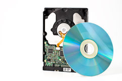 Hard drive with a CD DVD Stock Photo