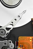 Hard Drive. Closeup view of an open hard drive, non-volatile storage device Stock Image