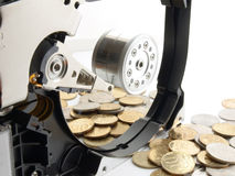 Hard drive with coin (money) Stock Photo