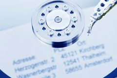 Hard drive of a computer with customer data Royalty Free Stock Image