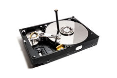 The hard drive from the computer with hammered nail Royalty Free Stock Photos