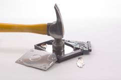 Hard Drive Crash. Horizontal view of something we all wish we could do at one tiome or another.  The destruction of a hard drive with a framing hammer Royalty Free Stock Image