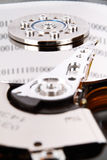 Hard drive with data. A close up view of a hard drive with data Royalty Free Stock Photos