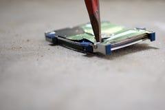 Destroy Hard Drive - Broken Data. Hard Drive destruction, Destroy Data - Hard Disk on the floor stock photos