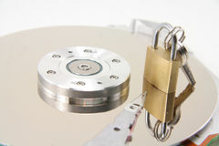 Hard drive details and lock Royalty Free Stock Image