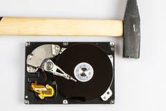 Hard drive disk and hammer repair Royalty Free Stock Image