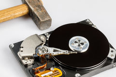 Hard drive disk and hammer repair Royalty Free Stock Photo
