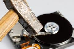 Hard drive disk and hammer repair Stock Photo